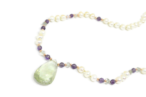 Green and Purple Amethyst with Freshwater Pearls Necklace & Rose Gold Sterling Silver, Drop Amethyst and Natural Gemstones, Easy Clasp