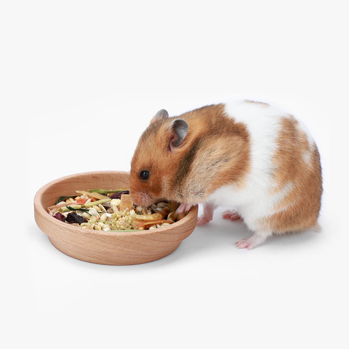 Niteangel Natural Wooden Food Source for Hamsters Beech Wood Bowl