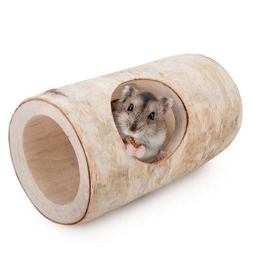 Niteangel Natural Birch Hideout with Tree Holes for Syrian and Dwarf Hamster