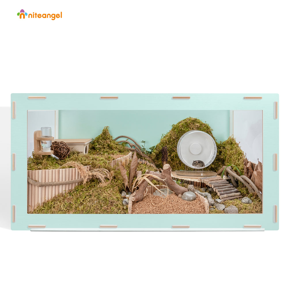 Niteangel Bigger World MDF Terrarium Aspen Poplar Wooden Enclosure for Syrian and Dwarf Hamsters