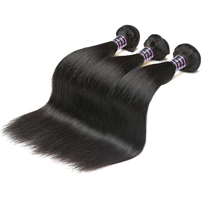 Malaysian Straight Hair - 3 Bundles Non Remy Human Hair - Natural Black