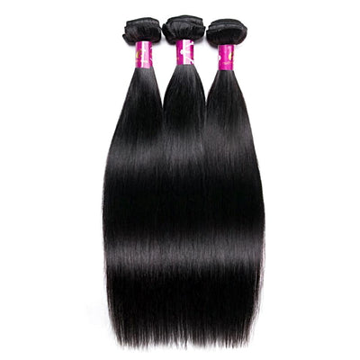 Brazilian Straight Hair Weave - 3 Bundles- Natural Color -Non Remy