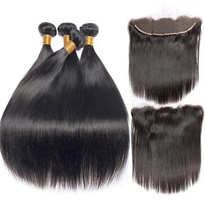 Peruvian Straight -3 bundle human hair- lace front closure- 4pcs- non remy