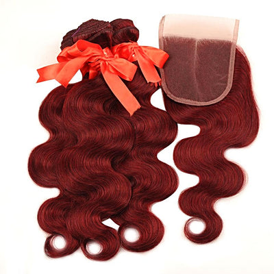Brazilian Body Wave Burgundy Human Hair - Closure Non Remy