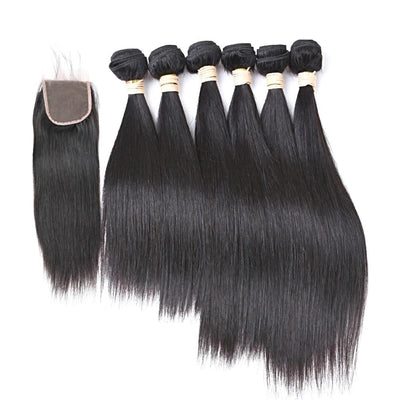 Brazilian Straight Hair - 6 Bundles Non-Remy Human Hair - 4x4 Lace Closure