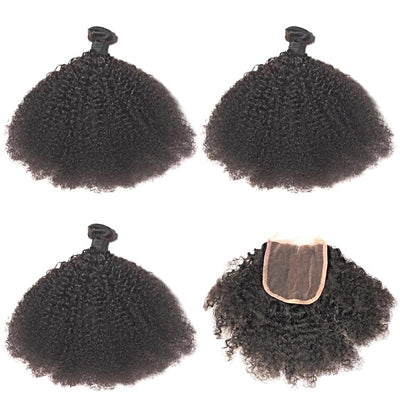 Brazilian Weave Remy Human Hair - 4x4 Lace Closure - 2/3 Bundles