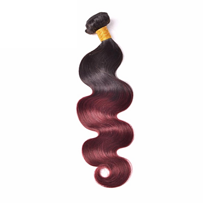 1pc Brazilian Body Wave Hair 1B/99J Burgundy Two-Tone