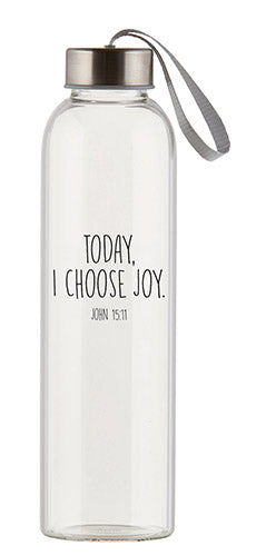 Glass Water Bottle choose from 2 Inspirational Phrases