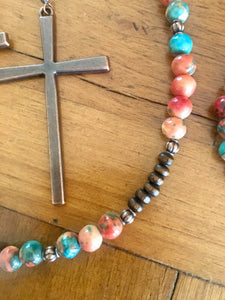 Multi Colored Turquoise Beaded Jewelry Set with Copper Cross Earrings