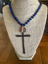 Copper Cross Dark Blue Bead Balcony Women Charm Necklace