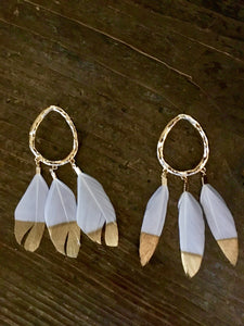 Tear Drop Feather Earrings