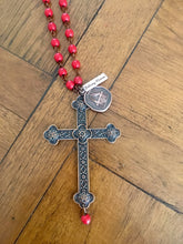 Copper Cross Red Bead Balcony Women Charm Necklace