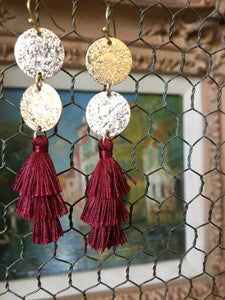 Tassel Earring & Bracelet Set Crimson