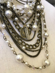 Vintage Pearl Necklace & Earring Set