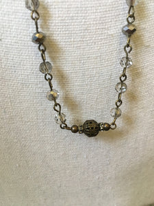 Vintage Rosaried Chain Cross Necklace with Earrings