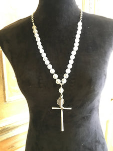 Knotted Matte Glass Beads Cross Charm Necklace