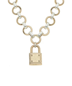Heidi Padlock Chain Necklace in Two-Tone