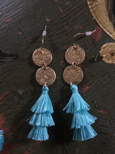 Tassel Earring & Bracelet Set Light Blue