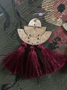 Fan Tassel Earring & Bracelet Set Crimson
