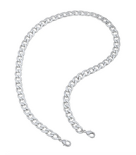 Soleil Bold Curb Chain Mask Necklace in Worn Gold or Silver