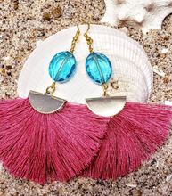 Crystal Tassel Earrings & Crystal and African Turquoise Necklace Set