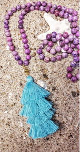 Purple Agate Tassel Necklace