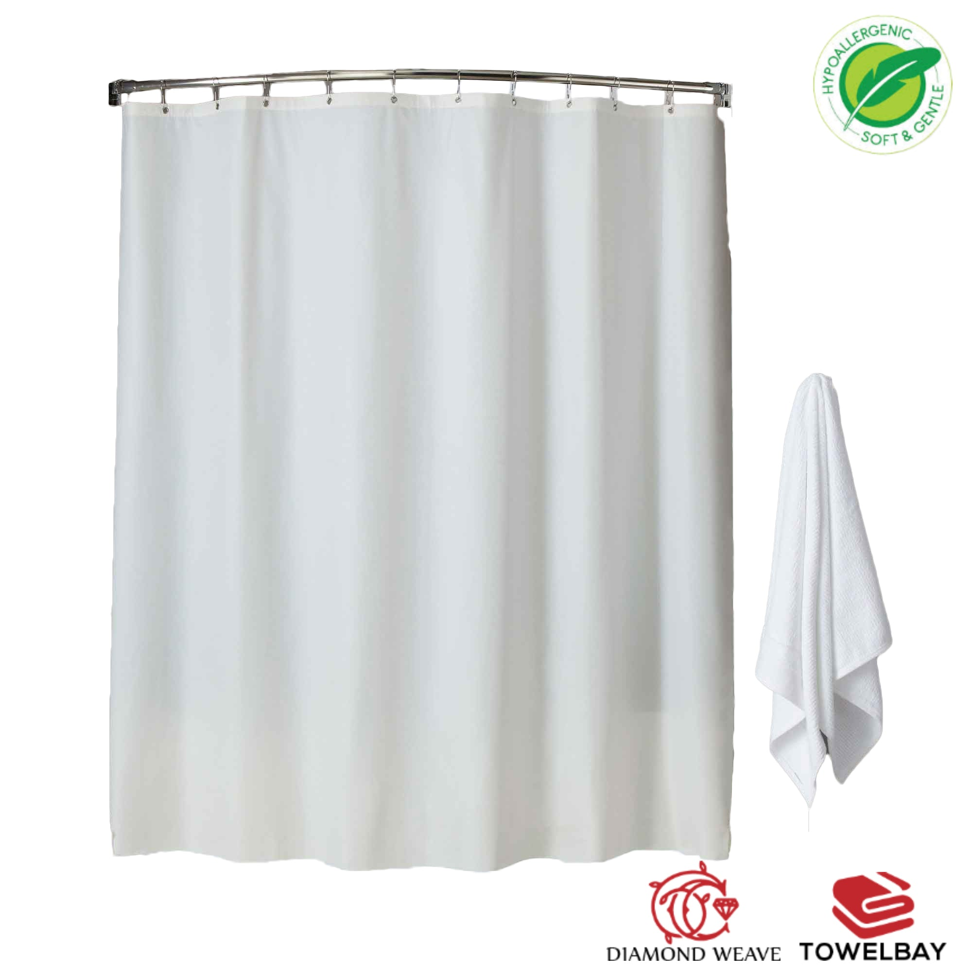 100 Polyester White Fabric Hookless Shower Curtains