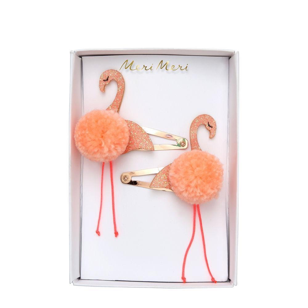 Flamingo Pompom Hair Slides
