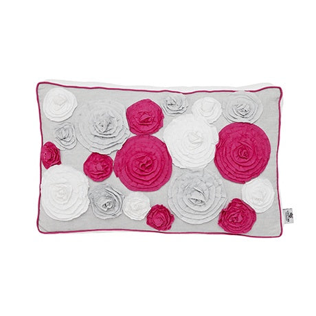 NARROW CUSHION IBIZA BLOOM WITH 16 ROSES - kizhouse