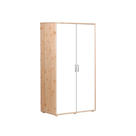 HIGH WARDROBE W. 2 DOORS CLEAR LACQUER WITH WHITE