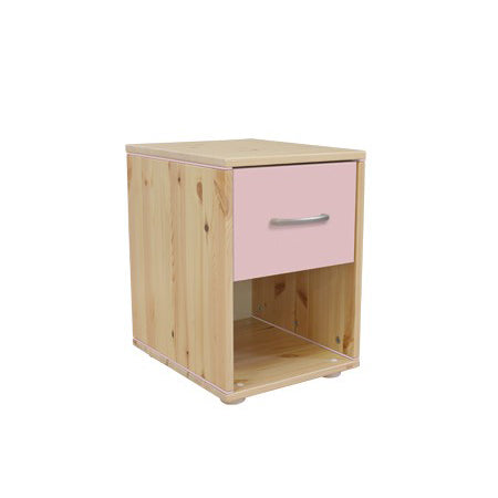 CHEST W.1 DRAWER CLEAR LACQUER ROSE FRONT