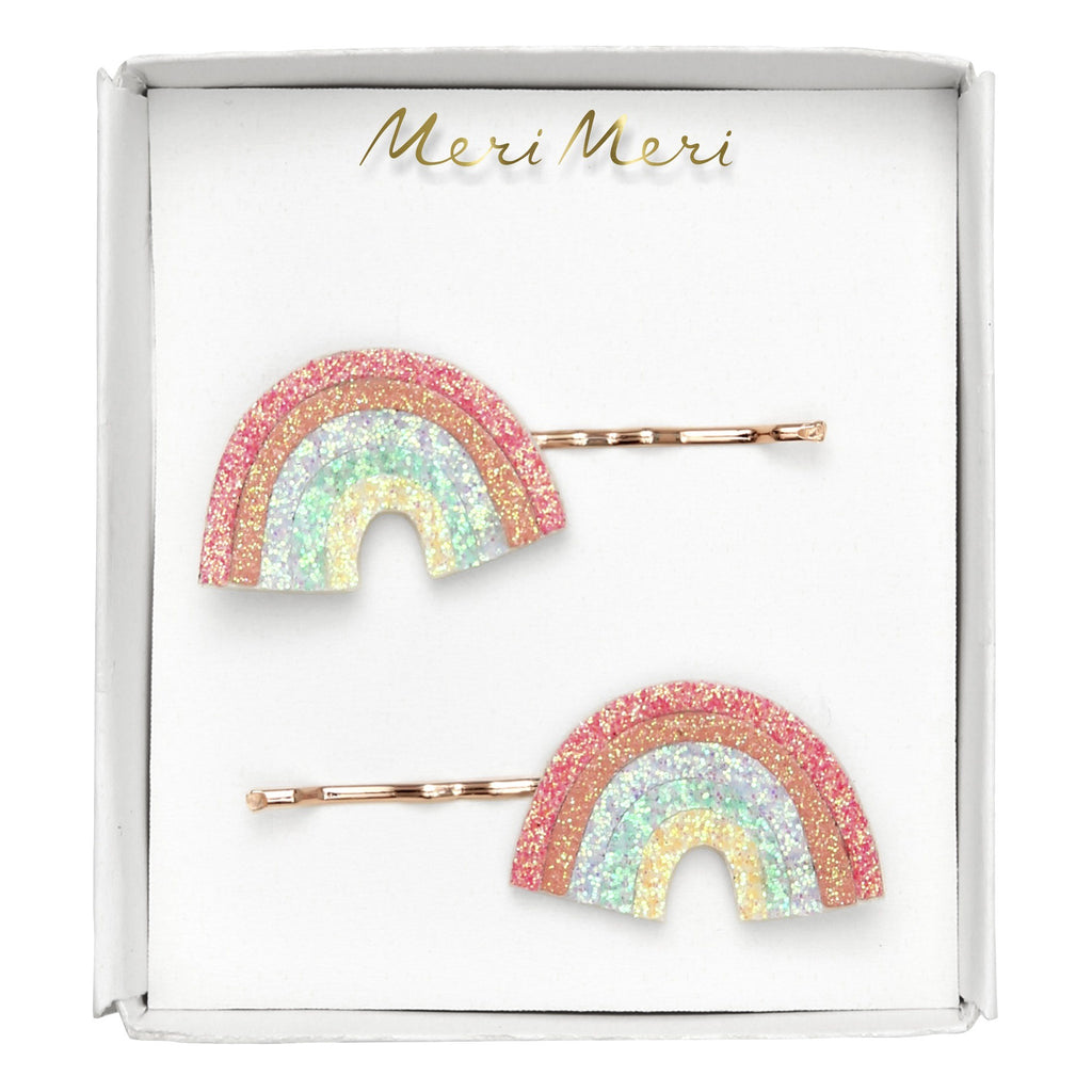 Glitter Rainbow Hair Slides