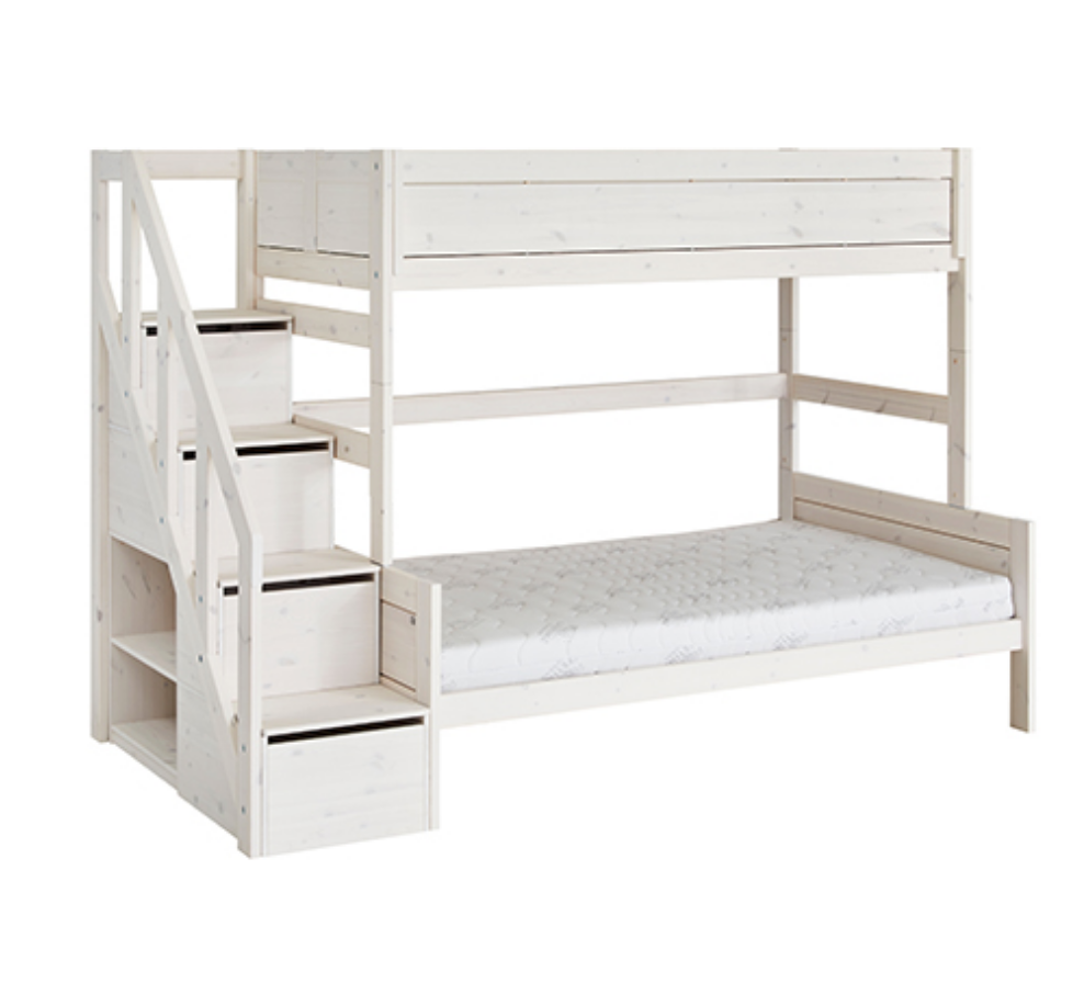 FAMILY BUNKBED 120/90 WITH STEPLADDER / LUX. SL. BASE-WHITEWASH