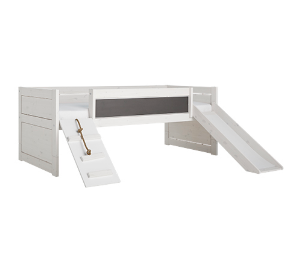 CABIN BED CLIMB & SLIDE / STANDARD SLATS-WHITEWASH