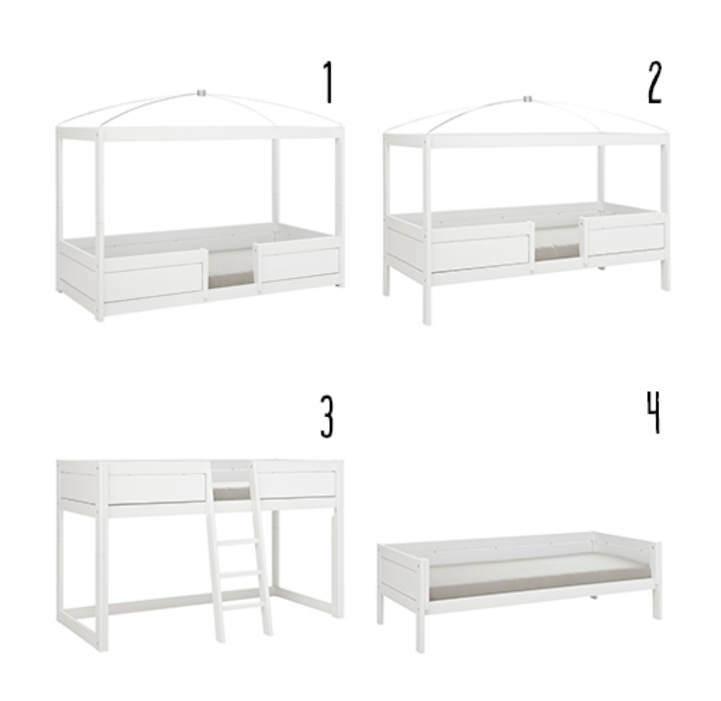 4 IN 1 BED FOR CANOPY / STANDARD SLATS-WHITEWASH