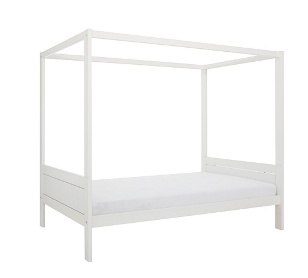 4-POSTER BED 120 / LUXURY SLATTED BASE-WHITE