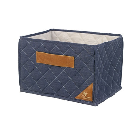 BLUE QUILTED FABRIC TOY BASKET