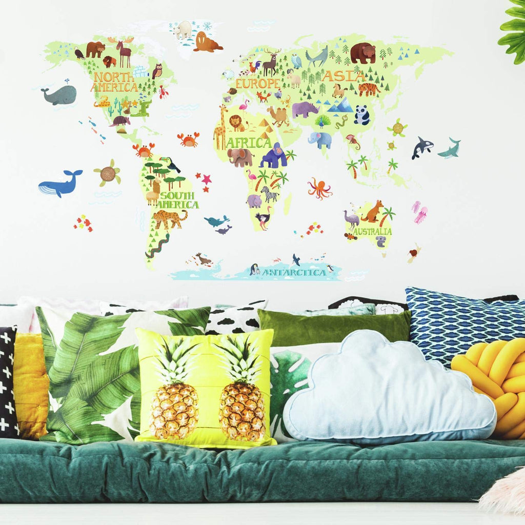 Room Decals Kids World Map Giant