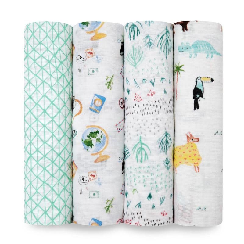 Around The World 4 pack swaddle