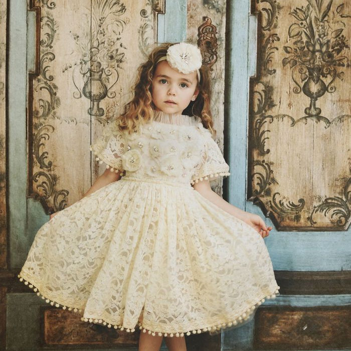 JEWELER'S CRYSTALS Diamonds & Pearls Lace dress with pompoms small 4- 6Y