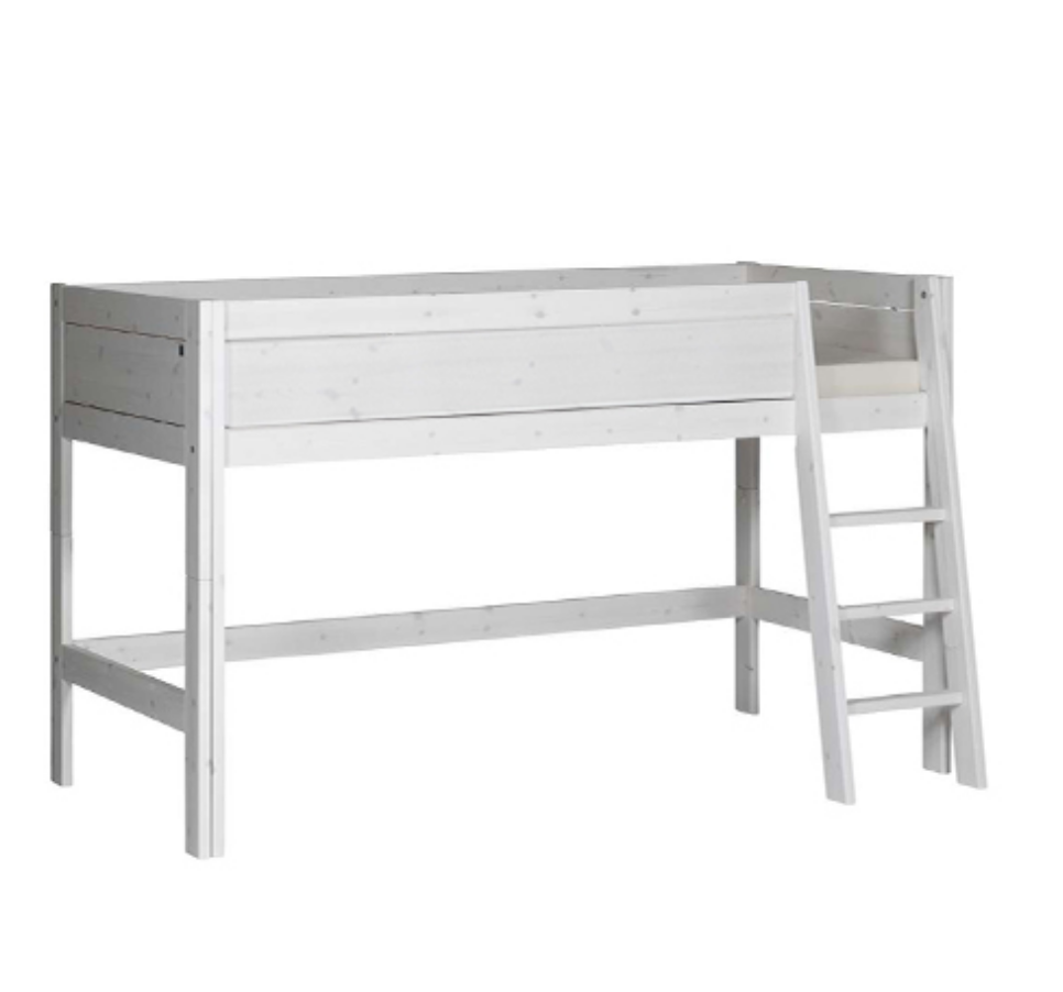 SEMI-HIGH BED / SLANT LADDER / STANDARD SLATS-WHITE WASH