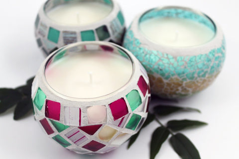 Mosaic Filled Soy Candle Jars
