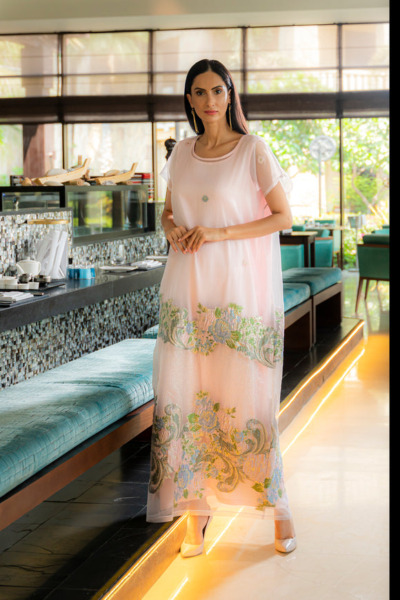 Dress kaftans are a perfect choice for easy elegance, and our silk-organza Rose dress is crafted tastefully and represents chic yet elegant look. Comes with inner dress.