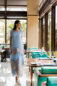 Aquamarine silk-organza dress kaftan is designed to create true feminine sophistication. Comes with inner dress.
