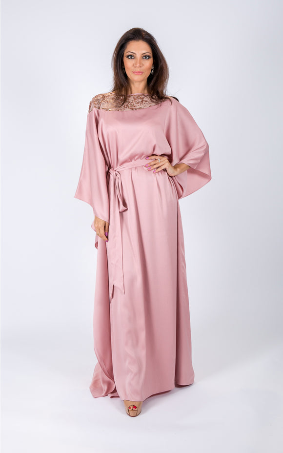 Embellished kaftan with sequins on the neck line made from satin fabric