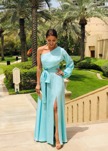 One shoulder maxi dress with slit. Comes with removable belt.
