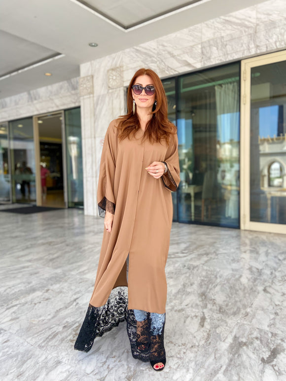 Lace patched abaya in brown