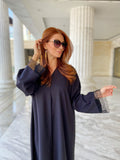 Lace patched abaya in black