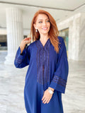 Patched abaya in blue