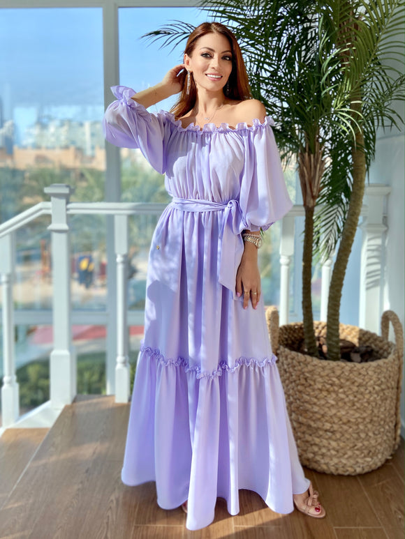 Lavender Off-The-Shoulder Dress